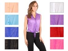 Wholesale Women's Solid Side Hem Short Sleeve Tops