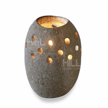 Candle Holder with side holes, River stone accessories