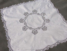 Hot selling direct factory made cotton Ecru cotton table Cloths with Cluny Lace table skirting/table cover