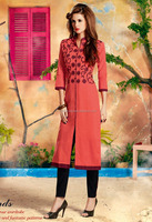 DELIGATING NEW FANCY PATICOTE STYLE PEACH EMBROIDERY COTTON KURTI FOR PARTY WEAR