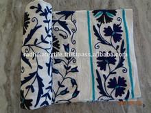 RTHBC-11 Floral Uzbekistan Suzani Embroidery Designs queen size Cotton bed covers Wholesale Manufacturers Jaipur