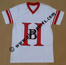 100% cotton jersey v-neck printed logo white t-shirt with contrast red color neck and fabric stripes on sleeves