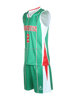 High Quality 100% Polyester basketball jersey green color top style basketball jersey