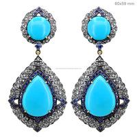 14k Yellow Gold Blue Sapphire Diamond Turquoise Dangle Earrings Wholesale Diamond Gemstone Earrings Manufacturer