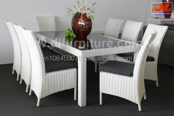 Patio Furniture Poly Rattan Outdoor Haftmoon White Table