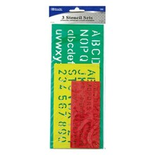 BAZIC 10, 17, 20mm Size Lettering Stensil Sets (3/Pack)