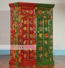 indian wooden mango wood painted armoire wardrobe bedroom furniture almirah designs