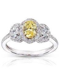 Fancy Yellow and White Diamond Engagement Ring, Diamond back, Diamond studs
