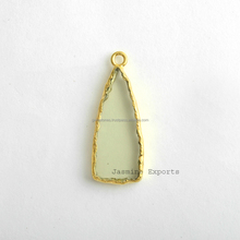 Handmade Fine Quality Green Amethyst Gemstone Bezel Station Micron Gold Plated Sterling Silver Bezel and Charm Manufacturer