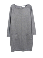 Simple O Neck Front Pocket Sweater Dress