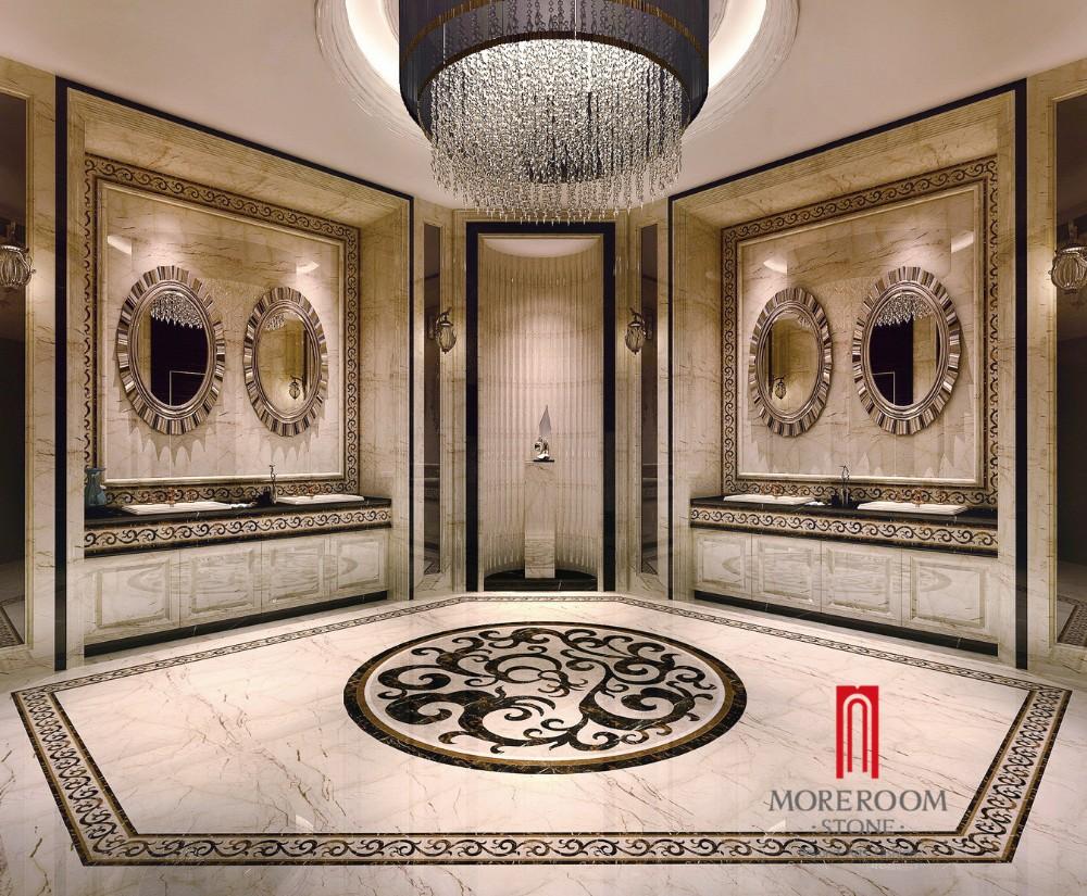 Customized ceramic tile water jet porcelain marble tile round golden sofitel marble tilesg dailygadgetfo Images
