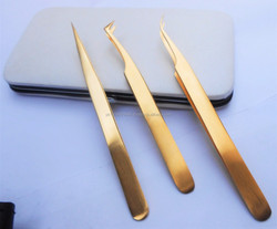 Gold Matching Eyelash Extension Tweezers In Magnetic Case / Get Customized Designed Lash Tweezers Kits