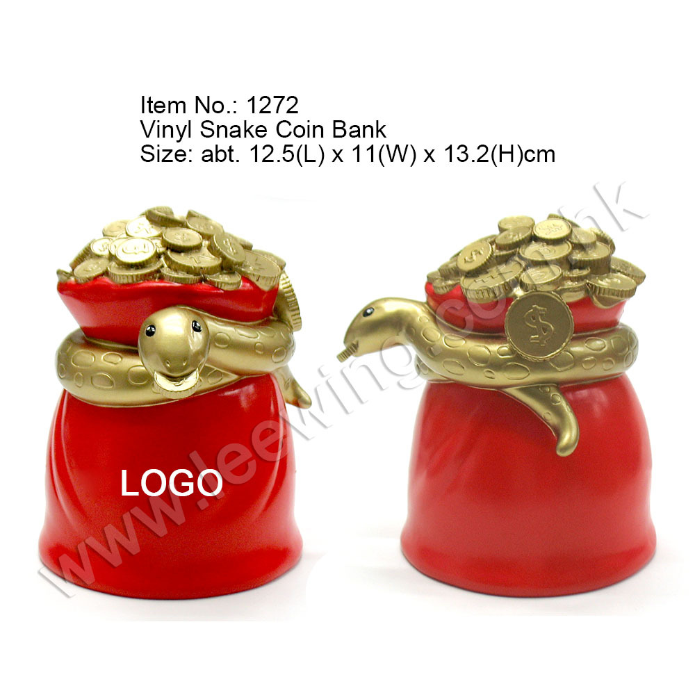 PVC Plastic Golden Snake Forest Animal Coin Bank