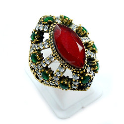 Green Emerald With 20x10 mm Ruby CZ 925 Silver Bronze Classic Elegant Cocktail Ring Size 8'