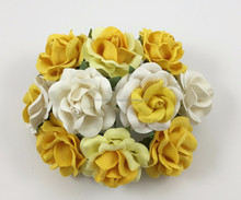 White, Yellow, Cream, Handmade Mulberry Paper Flower, Wedding Party, Scrap-booking Crafts