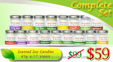 Complete Set Glass Jar Container Scented Soy Candles - 100% Natural Scented Soy Wax Candles and Pure Essential Oils