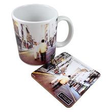 3mm hardboard wooden round mug coaster, customized design mug pad coaster for promote