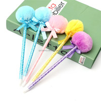 New Colorful 5Pcs Adorable Fluffy Pens Cute Ribbon Princess Lovely Ballpoint Ball Pen Gift Beautiful Multi colors New