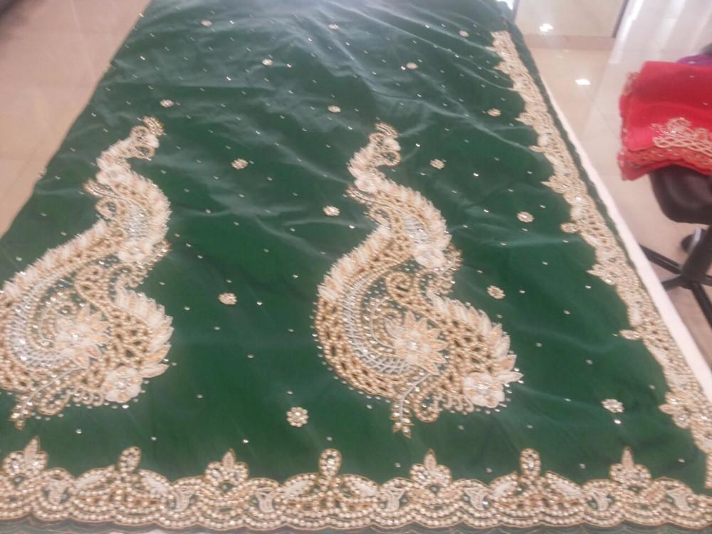 Atacado Moda Africano Seda Crua George Tecido/Luz Verde-Ouro Índia Swaali Wrappers George Tecido Bordado Para Vestidos
