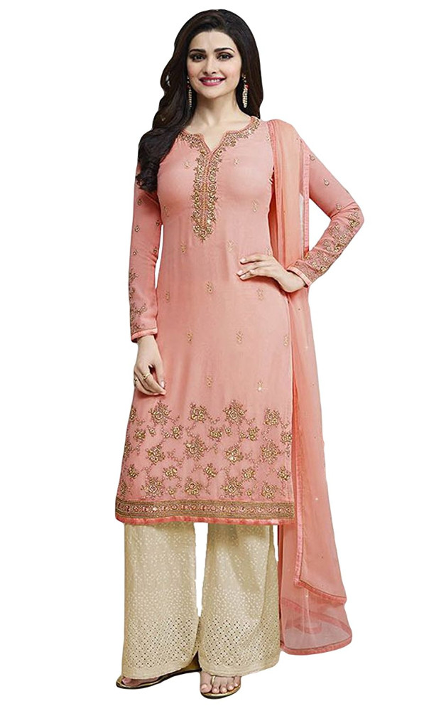 Party Wear Salwar Kameez With Patiala Pant / Palazzo Pant Style / Straight Cut Style Semi-Stitched Dress Material (salwar kameez