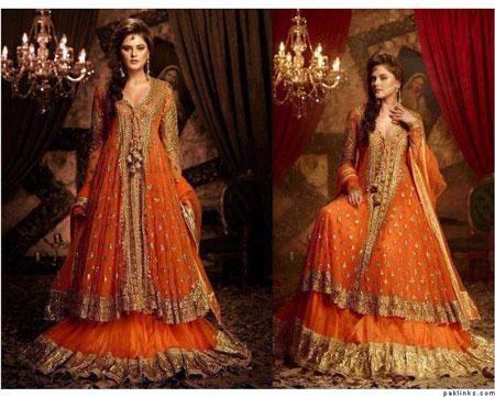 Wedding Wear Designer Orange Indian Lehenga Choli Dress 2017 - Buy ...