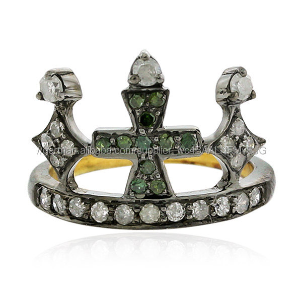 Pave Diamond Gold 18kt 925 Sterling Silber Midi Ring Schmuck Gemco Großhandel