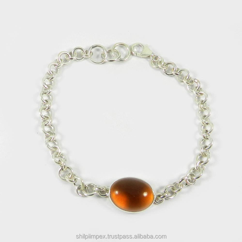 Rainbow سوار-الظلام سيترين المائي 925 فضة-gemstone رابط bracelet-SIBR0247