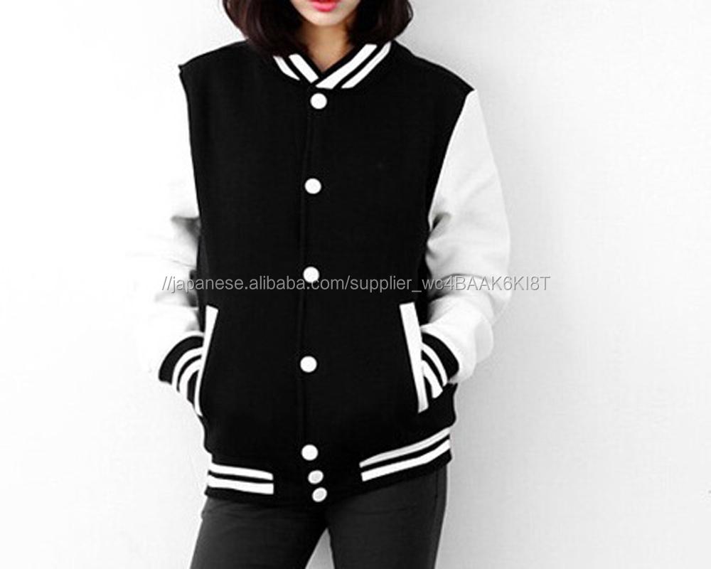 女性カレッジバーシティジャケット卸売白と黒