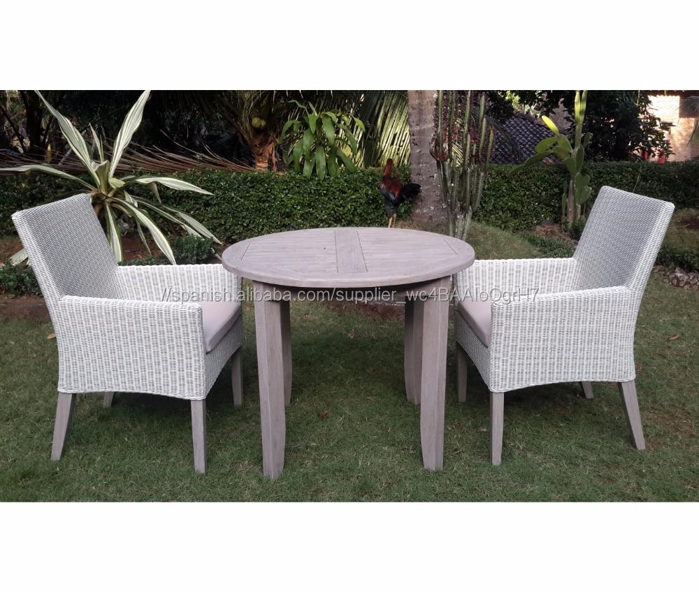 TECA mesa de comedor redonda mesa y 2 sillas <span class=keywords><strong>material</strong></span> de <span class=keywords><strong>ratán</strong></span> sintético muebles de exterior