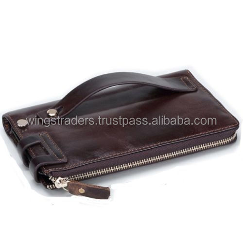 Cuero genuino de los hombres Tarjeta de Identificación titular de la cartera del monedero del bolso zip embrague chequera
